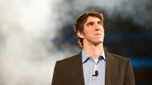 "SACRAMENTO CA - February 24 2009: Michael Phelps speaking at a ""Get Motivated"" Seminar at the Arco Arena in Sacramento California."